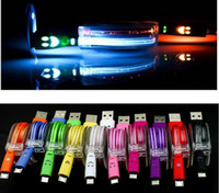Wholesale Galaxy S3 Led - Universal Micro USB Cable LED Light Noodle Flat Charger For Samsung Galaxy S3 S4 S5 S6 Edge Htc M8 M9 Android Mobile