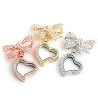 Fashion NOUVEAU Bijoux de luxe Full Diamond Crystal Butterfly Bow + forme de coeur lockets flottants Pendentifs pour placettes DIY Colliers
