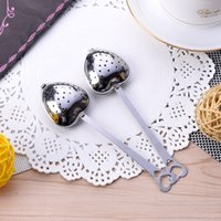 Wholesale Stainless Steel Heart Shaped Spoons - New Qualified 2016 New Hot Heart Shape Stainless Steel Tea Infuser Spoon Strainer Handle Shower