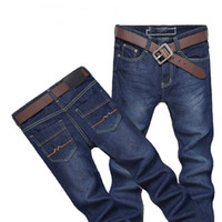 Wholesale Working Jeans - Wholesale-High Quality New style Summer Korean Metrosexual Straigh Full Length Fashion Trend Slim Thin Jeans work wear Casual Clothing