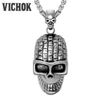Wholesale Fashion Design Skull Head - 316L Stainless Steel Pendants&Necklaces Skull Head Design Chains Necklace For Women Men Fashion Jewelry Silver Plated Color Easter VICHOK