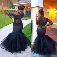 Wholesale Cheap Black Abayas - See Through 2017 Mermaid Prom Dresses Black Lace Evening Party Dresses With Long Sleeves Dubai Abaya Arabic Cheap Girls Pageant Gowns