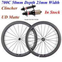 Wholesale Rear 24 Bicycle Wheel - Novatec 291 482 Hubs Full Carbon Bike Wheels 700C 50mm Depth 23mm Width Carbon Bicycle Wheelset UD Matte Clincher 20 24 Spokes