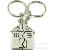 Wholesale Key Fob Housing - 200pairs lot fedex fast free shipping Couple Gift Romantic House Keychain Personalized Keyring Valentine's day Love Key Fob
