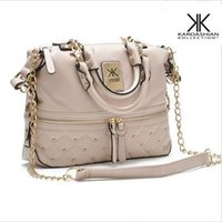 Wholesale bags for women handbag rivet elegant medium size kardashian kollection beige leather handbag KK