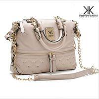 Wholesale Elegant Fashion Handbags - bags for women handbag 2017 rivet elegant medium size kardashian kollection beige leather handbag KK