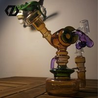 Wholesale ZD Glass newest small cute piece in pocket function bong smoking pipe Dab Rig design With percolator glass water Glass bong