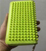 Wholesale Pewter Ribbon - European Brand 100% Genuine leather Handmade wallet Men and women Hand bag Rivet Fashion Ladies zipper purse