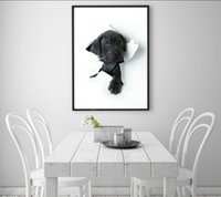 Wholesale Puppy Paintings - Single Unframed Black Puppy Broke through the Paper Oil Painting On Canvas Giclee Wall Art Painting Art Picture For Home Decorr