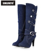Grossiste-Big taille 32-43 Mode Femmes Demi Knee Bottes Sexy Spiked Talons hauts Toile Upper Denim Boucle Chaussures Strap Chaussures Automne Bottes