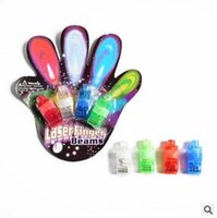 Wholesale Led Gadget Glow Lights - LED Laser Fingers Light Gadget Beams Party Nightclub Glow Light Ring 4 Colors Mix Blister With Card Package CCA5976 2000pcs