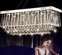 Wholesale Rectangular Stainless Steel - new design rectangular crystal chandeliers modern luminare LED light fixtures AC110-240V dinning room luxury crystal lamps LLFA
