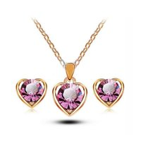 Wholesale Earring Setting Yellow Gold - Kids Jewelry Sets 18K Yellow Gold Plated Big Cubic Zirconia Cute Heart Stud Earrings Chain Pendant Necklace for Children Girls