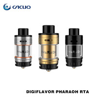 Wholesale Derlin Drip Tips - Digiflavor Pharaoh RTA Tank 4.6ml BAF Top Angled Airflow System Interchangeable Decks Derlin Drip Tip Atomizer by Rip Trippers 100% Original