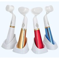 CN blue cleanse - pobling Ultrasonic Face Brush Eletrical Facial Cleansing Tool Machine Facial brush Pore Sonic Cleanser Red Gold Blue color
