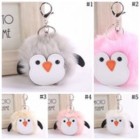 Wholesale penguin keychains - Penguin Key Chain Artificial Rabbit Fur Women Cute Penguin Fluffy Ball Handbag Pendant 5 Colors 500pcs LJJO3483