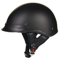 meio capacetes motocicleta vintage venda por atacado-Atacado- ILM 1/2 Open Face Capacete Da Motocicleta DOT Aprovado Unisex Liberação Rápida Crânio Cap Low Profile Meio Capacete Do Vintage Preto S M L XL