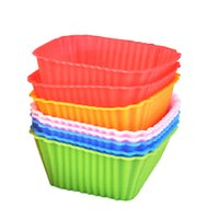 Wholesale square rubber moulding for sale - Group buy Silicone Cake Mould Square Candy Color Multi Function Baking Tools Widely Used Egg Tart Mold Hot Sell qt C R