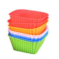schimmel für kuchen quadrat groihandel-Silikon-Kuchen-Form-Quadrat-Süßigkeit-Farben-Multifunktions-Backen-Werkzeuge Weit verbreitetes Ei-Törtchen-Form-heißer Verkauf 8qt C R