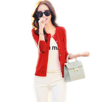 Wholesale Riding Outerwear - Wholesale- Women thin outerwear knitted cardigan sweater short paragraph Long-sleeved coat hook hollow out side the ride small shawl C124