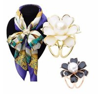 Wholesale Best Deals Wholesale Jewelry - Wholesale- SPX6606 Best Deal New Good Quality Tricyclic Camellias Imitation Pearl Scarf Buckl Holder Scarf Brooch Clips Jewelry Gift