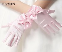 Wholesale Cute Gloves For Girls - Flower Girls Short Gloves Pink Full Finger Children Gloves For Wedding Party Cute Bow Gloves Three Colors On Sale