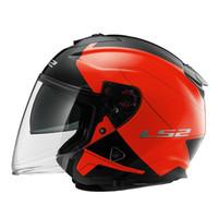 meia capacetes xxl moto venda por atacado-LS2 OF521 Capacete Da Motocicleta Scooter FRP Meia Capacete Com Viseira Dupla Lente UV Antiqued Estilo Vintage Profissional Casque Moto Capacetes