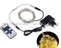 Wholesale Outdoor 12v Led String - LED String Lights 5M10M Outdoor Christmas Fairy Lights Warm White Silver Wire LED Starry Lights DC 12V Wedding Decoration MYY