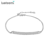 Wholesale Korean Style Bangles For Women - LUOTEEMI New Tiny Cubic Zirconia Hand Love Bracelet CZ Bangles Korean Style High Quality Jewelry for women Wedding Party