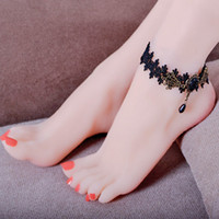 Wholesale Girls Lace Anklets - Fashion Black Gem Anklets Girl Ladies Sexy Lace Ethnic Anklets For Women Barefoot Sandals Vintage Retro Foot Jewelry