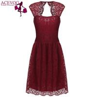 Wholesale Empire Waist Xxl - Women 2017-2017 summer lace dress for women casual elegant high waist Black 5 color S M L XL XXL sexy vestidos