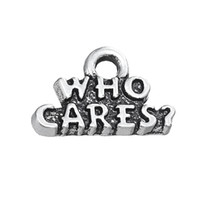 Wholesale Wholesale Vintage Stamping Jewelry - Alloy Who Cares Stamped Vintage Message Charms For DIY findings Jewelry