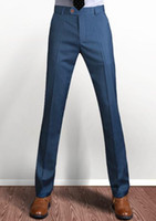 Wholesale Wool Silk Pants - Wholesale- 2016 summer men suit pants wool silk thicken work pants business casual trousers straight classical dress pants men