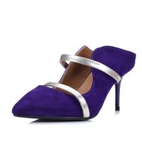 Wholesale Dresses For Office Girls - KSJYWQ 2017 Purple Color Pumps for Women Genuine leather 9 cm Heels Curved upper sexy girls Wedding shoes Woman Box Packing A25