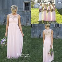 pale pink lace bridesmaid dresses - 2017 Country Style Pale Pink New Sheer Crew Lace Neck Cheap Chiffon Bridesmaid Dress Illusion Back Maternity Long Maid Of Honor Dresses