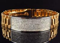 Wholesale Mens Gold Id Bracelets - Mens Pave 18K Yellow Gold Genuine White 12 MM VS Diamond ID Bracelet 5 Ct