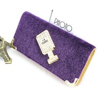 Wholesale Horsehair Wallets - Fashion Women Zipper Wallets Horsehair Card Holder Long Wallet Purse Clutch Hasp Wallet Phone Pocket Purse Wallet Coin Purse Card Holder
