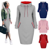 Wholesale Turtle Neck Dress Pink - Autumn Winter New Fashion Womens Ladies Long Sleeve Slim bodycon Casual Pullover Long Dress 6 Colors 6 Size