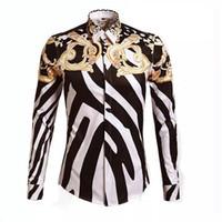 zebra baskılı erkek gömlek erkek toptan satış-Moda Tasarımcısı Gömlek Erkekler Zebra Baskı Lüks Casual Slim Fit Şık Gömlekler Uzun kollu Erkek Gömlek Pamuk