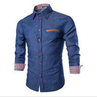 Wholesale Denim Shirts Leather - Wholesale- 2016 New Arrival Features Leather Pocket Shirts Camisa Men Casual Jeans Shirt Long Sleeve Casual Slim Fit Male denim Shirts