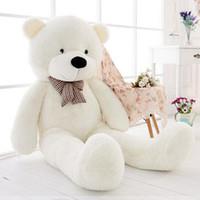 ingrosso big white teddy bear doll-Spedizione gratuita 47''giant grande enorme teddy bear bianco peluche farcito giocattoli bambola regalo per bambini 120 cm