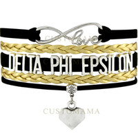 Wholesale Delta Phi - (10 pcs lot) Infinity Love Delta Phi Epsilon Heart Charm Multilayer Bracelet Black Gold Suede & Leather Bracelet Women's Fashion