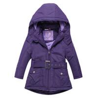 Wholesale Girls Hooded Jacket Christmas - Christmas Girls Coats and Jackets Winter Girls Jacket Hooded Kids Coat with Sashes Roupas Infantis Menina Girls Outerwear