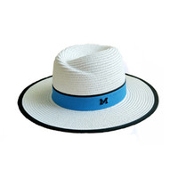 Wholesale Travel Straw Hats For Women - New arrival Summer Fashion M letter straw hat for women Large brim M panama straw fedora women's travel beach hat sun hats