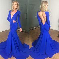 Wholesale best long sleeve evening dresses resale online - Elegant Deep V neck Royal Blue Mermaid Long Prom Dresses Long Sleeve Backless Formal Prom Gowns Party Dresses Evening Dresses Best