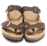 Wholesale hot high heels sandals - Hot Sale New Famous Brand Arizona Men's Flat Sandals Casual Shoes Male Buckle Beach Summer High Quality Genuine Leather Slippers Women Shoes