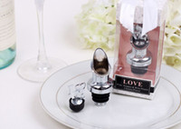 Wholesale Love Wine Pourer - 100PCS LOT Stainless Steel Love Wine Bottle Pourer Stopper Wedding Gifts Bridal Shower Party gift present FREE SHIPPING
