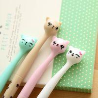 Wholesale Wholesale Plastic Bow Supplies - 4 Pcs   Pack 0.5mm Cute Candy Color Bow Cat Gel Ink Pen Maker Pen School Office Supply Escolar Papelaria