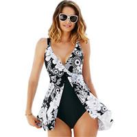 falda blanca traje de baño mujer al por mayor-Nuevo traje de baño de talla grande Mujer traje de baño de una pieza Vestido de baño femenino de flores blanco Falda de baño Falda de playa de una pieza 5XL