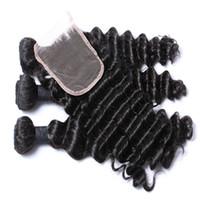Wholesale brazilian hair bulk online - Brazilian Hair Unprocessed Peruvian Brazilian Indian Malaysian Hair Extension Virgin Hair Deep Wave With Closure Can Be Dyed Ombre